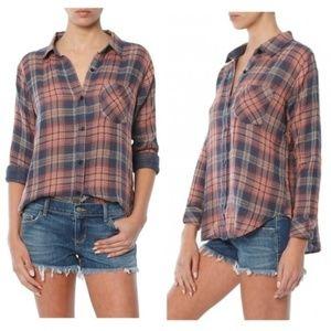 NWOT Rails Jerrah Metallic Cotton Plaid Shirt